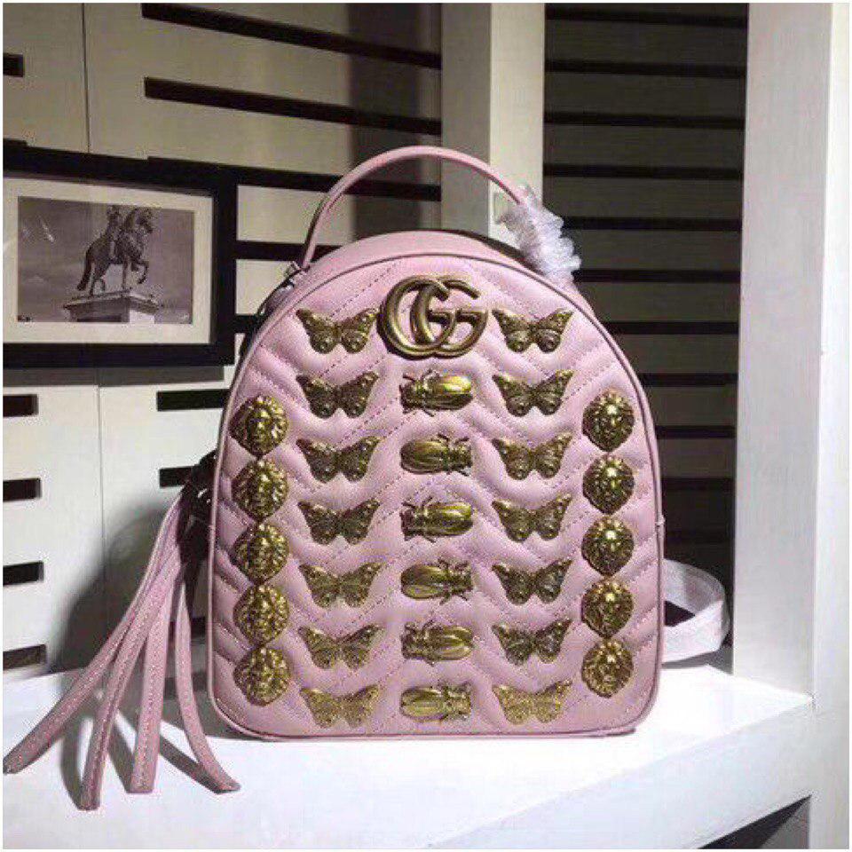 Рюкзак Гучи Marmont Animal натуральна шкіра колір рожевий