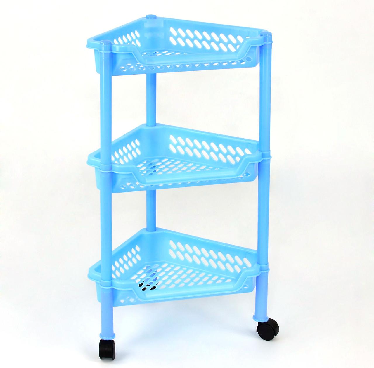 Етажерка кутова пласиковая блакитна