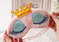 Маска для сна в короне Розовый / повязка для сна