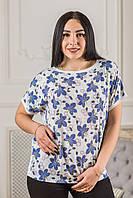"""Блуза женская летняя """"Синий колокольчик"""" Zanna Brend с цветочным принтом белая, фото 1"""