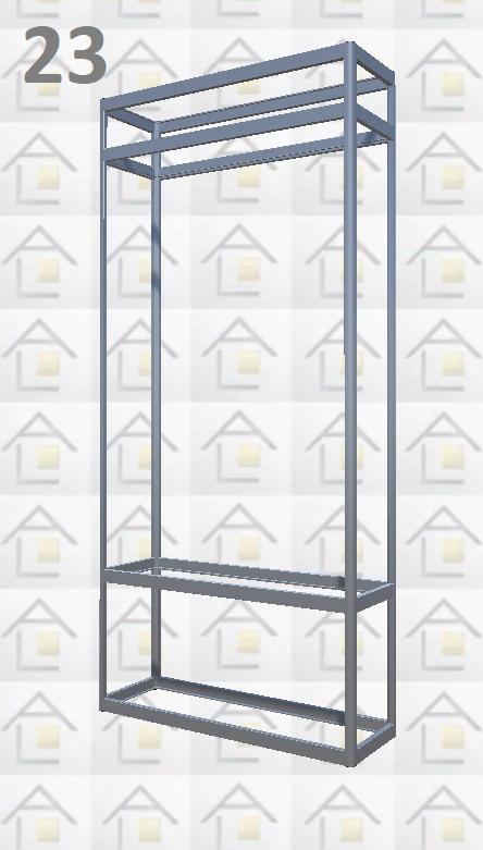 Конструктор (каркас) витрины № 23 из алюминиевого профиля (2578)1449,2576,2721