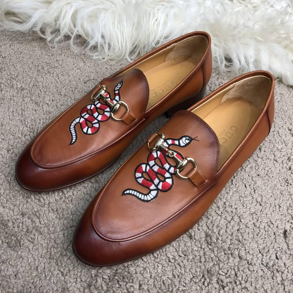 Мужские Туфли Gucci Leather Loafer with Kingsnake Brown (реплика) Гучи -  Интернет Магазин