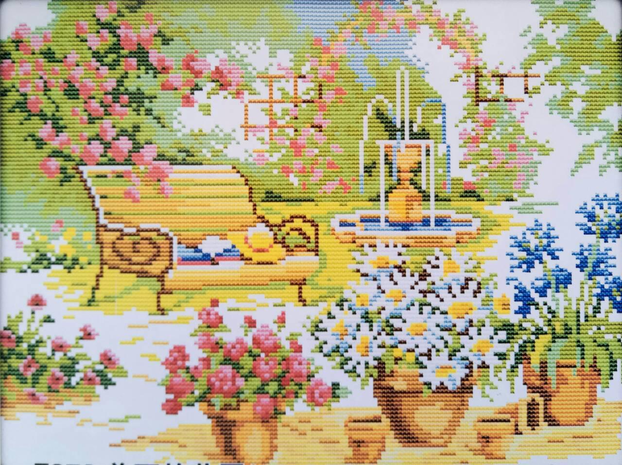 Красивый сад F379 Набор для вышивки крестом с печатью на ткани 14ст
