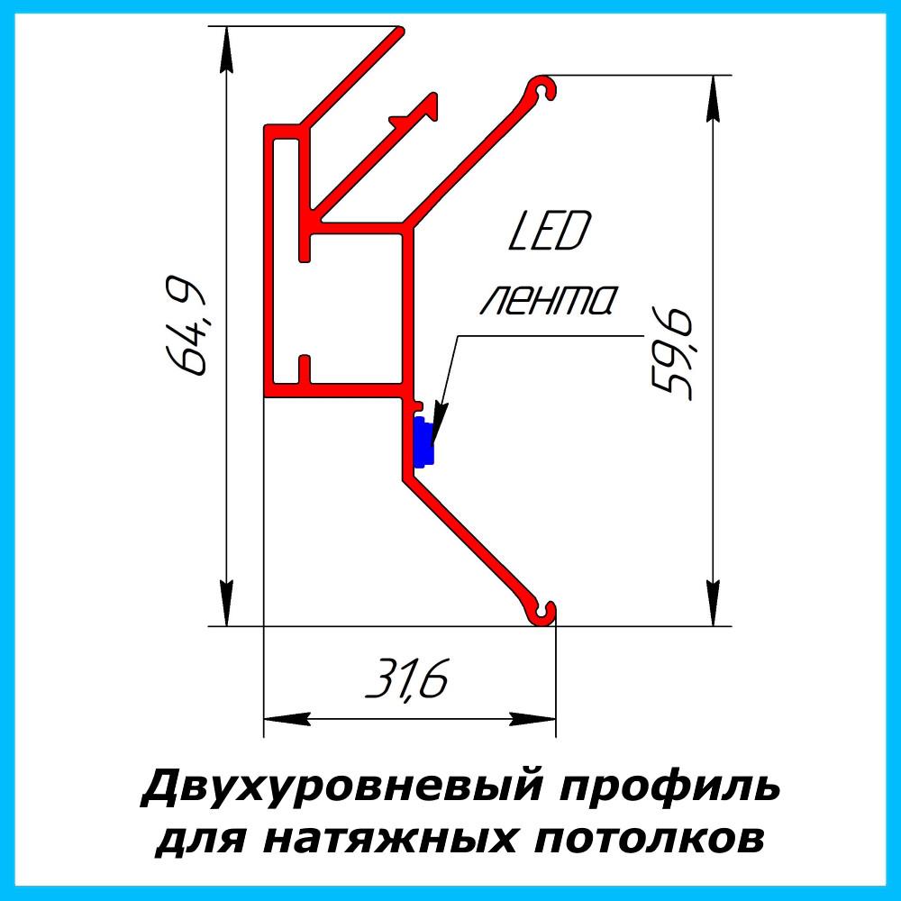 Двухуровневый профиль для натяжных потолков