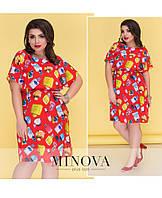 Легкое летнее платье с короткими рукавами от ТМ Minova производитель Одесса  р. 50-58 d019797fe2d