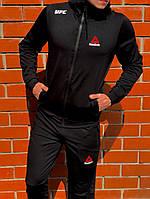 Мужской спортивный костюм ReebokЧерный Топ Реплика Хорошего качества