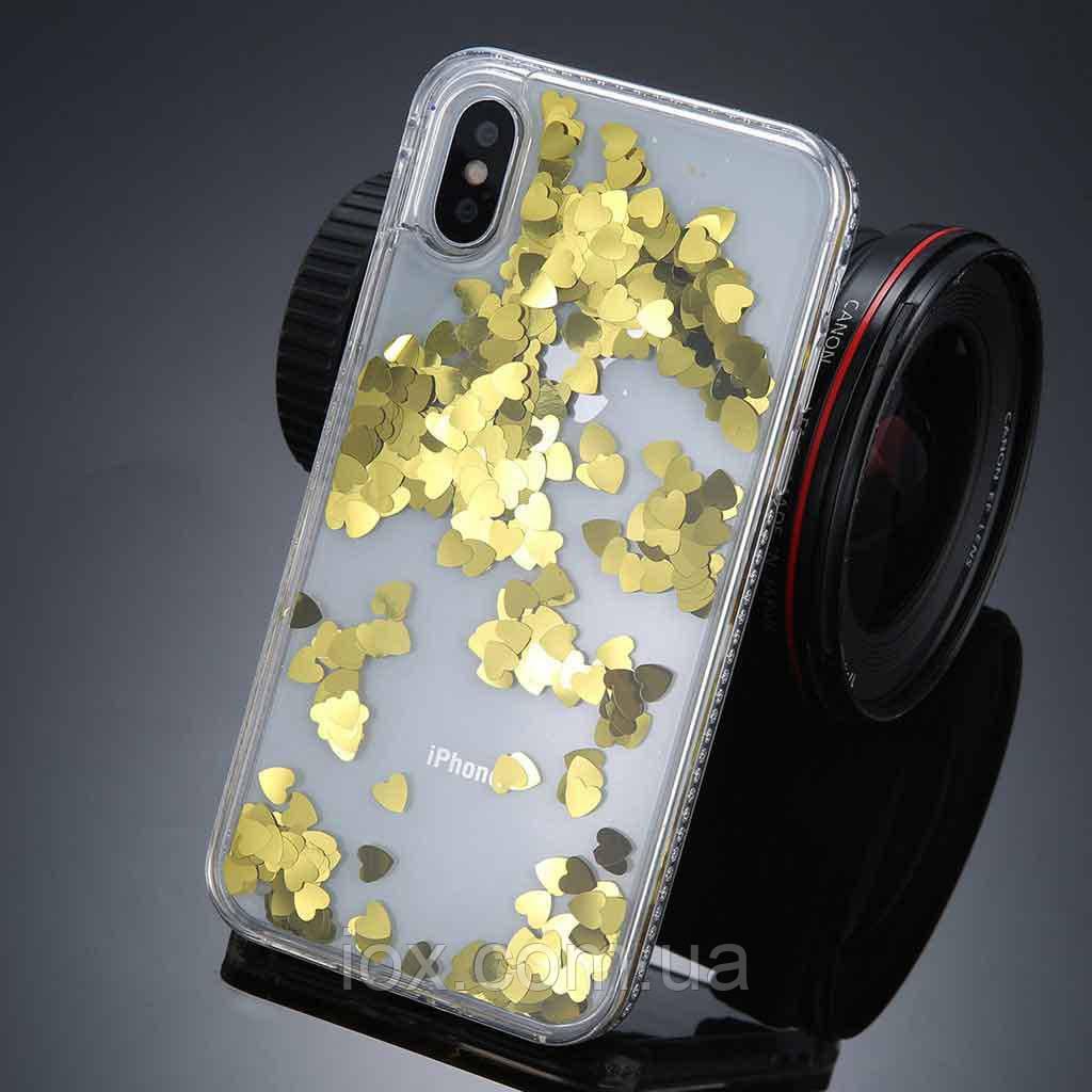 Пластиковый чехол с плавающими сердечками для iPhone X