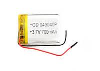 Литий-полимерный аккумулятор 3.7V 40х30х4 700 mAh