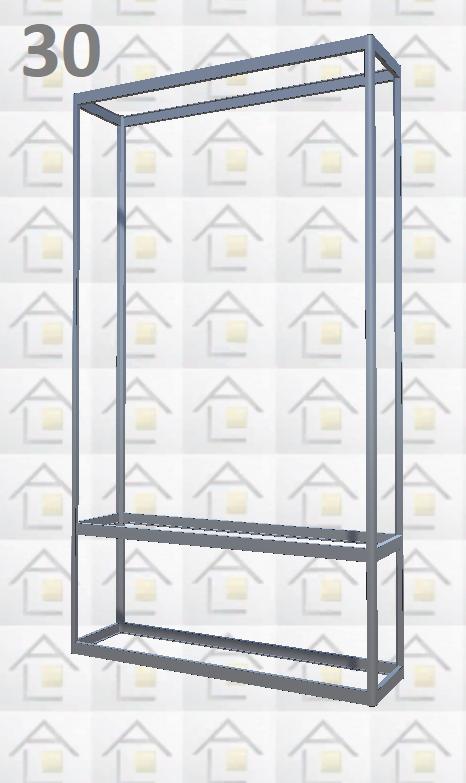 Конструктор (каркас) витрины № 30 из алюминиевого профиля (2578)1449,2576,2721
