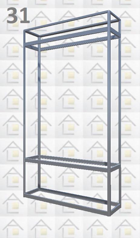 Конструктор (каркас) витрины № 31 из алюминиевого профиля (2578)1449,2576,2721