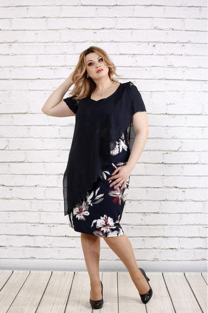 Женское темно-синее платье с цветами 0772 / размер 42-74 / большие размеры