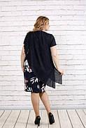 Женское темно-синее платье с цветами 0772 / размер 42-74 / большие размеры, фото 2