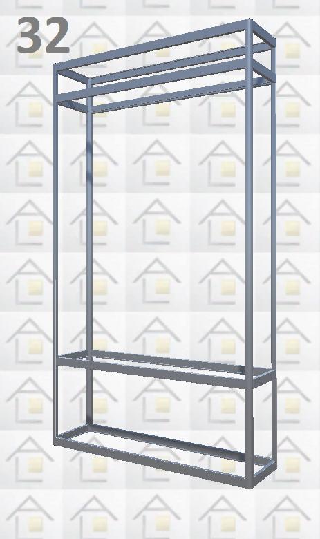 Конструктор (каркас) витрины № 32 из алюминиевого профиля (2578)1449,2576,2721
