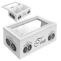 """Коробка для хранения чая """"Stamp"""" R22244 два отделения, 7*10*8см, МДФ, белый, кухонный инвентарь, коробочка для чая"""