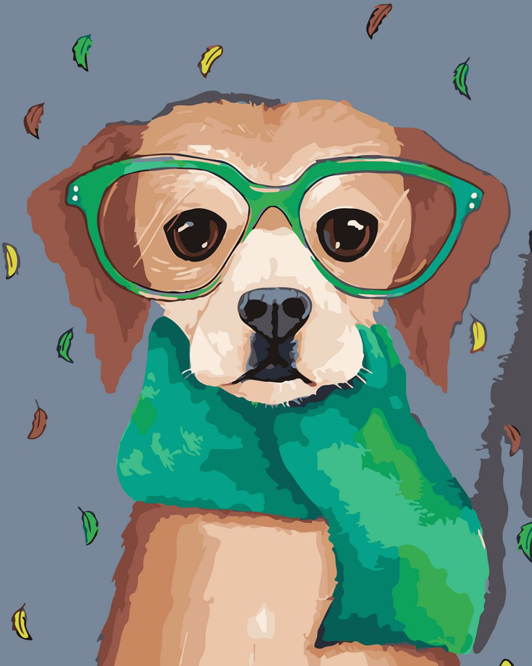 Картина по цифрам Пес в очках ArtStory AS0071 40 х 50 см