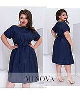 Платье с короткими рукавами и съемным поясом большой размер Прямой поставщик Производителя ТМ Минова р.44-52