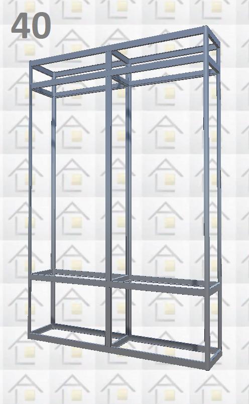 Конструктор (каркас) витрины № 40 из алюминиевого профиля (2578)1449,2576,2721