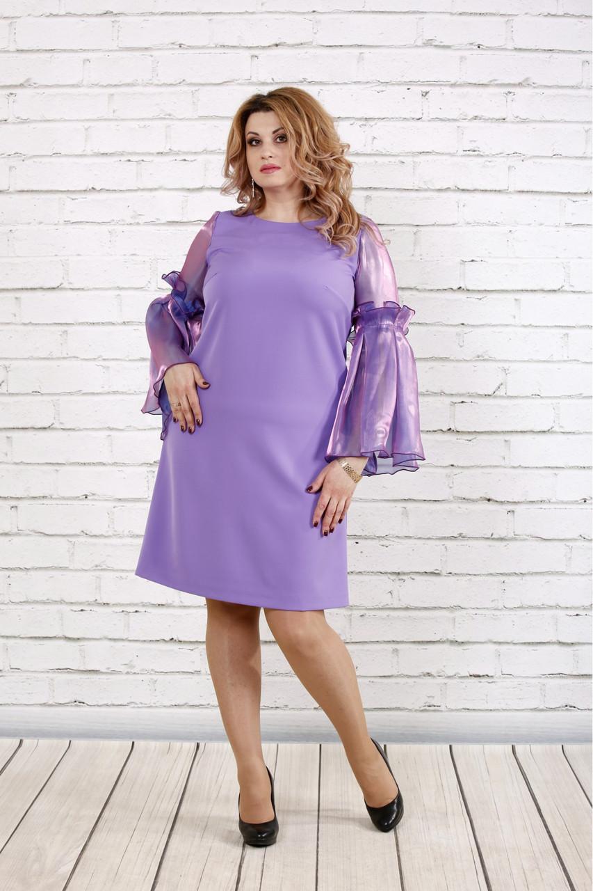 Женское платье с органзой 0791 / размер 42-74 / большие размеры / цвет сиреневый