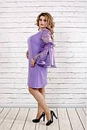 Женское платье с органзой 0791 / размер 42-74 / большие размеры / цвет сиреневый, фото 2