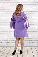 Женское платье с органзой 0791 / размер 42-74 / большие размеры / цвет сиреневый, фото 4