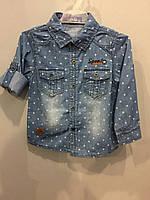 Детская джинсовая рубашка для мальчика 1(86),5(110) л, фото 1