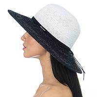Летняя широкополая шляпа  цвет белый с черным полями