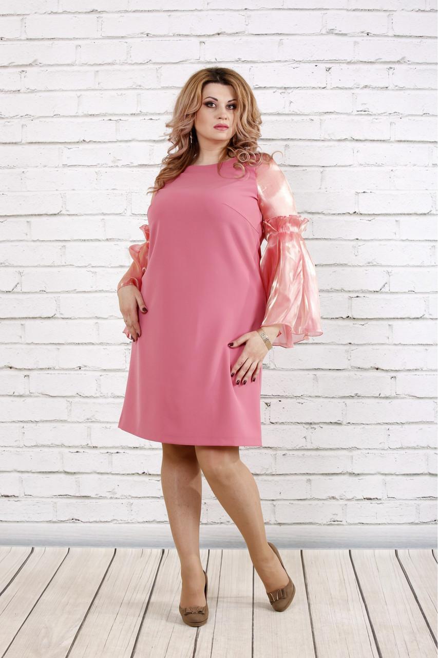 Женское платье с органзой 0791 / размер 42-74 / большие размеры / цвет фрез