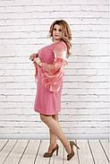 Женское платье с органзой 0791 / размер 42-74 / большие размеры / цвет фрез, фото 2
