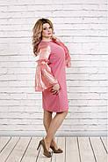 Женское платье с органзой 0791 / размер 42-74 / большие размеры / цвет фрез, фото 3
