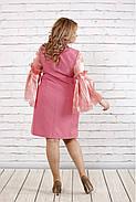 Женское платье с органзой 0791 / размер 42-74 / большие размеры / цвет фрез, фото 4