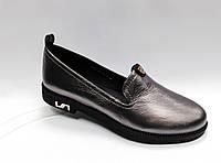Туфли женские кожаные на низком каблуке.