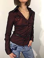 Рубашка женская А-84 бордо