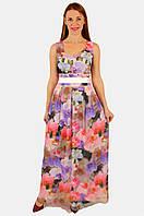 Длинное нарядное платье с сеткой на юбке 44,46,48 р