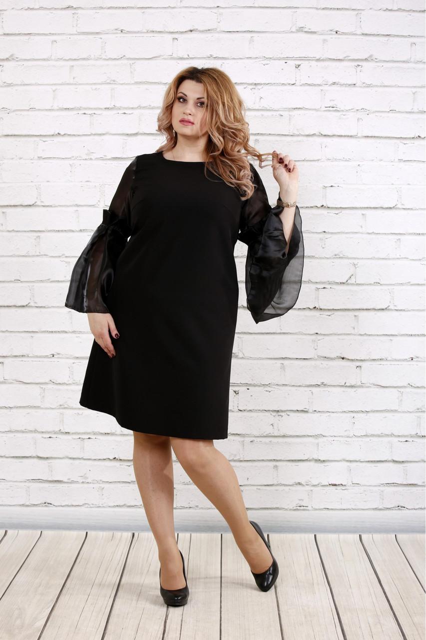 5b23442199a2380 Женское платье с органзой 0791 / размер 42-74 / большие размеры / цвет  черный