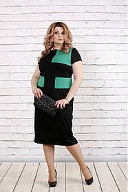 Женское платье ниже колена с коротким рукавом 0790 / размер 42-74 / большие размеры / цвет черный с зеленым