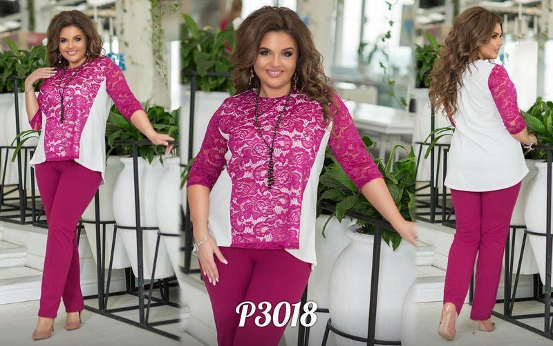 Стильный костюм туника асимметричной длины и с рукавами 3/4 и брюки Турция размер 48-50 52-54