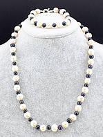 052534 Украшения и черного и белого жемчуга - бусы и браслет 53 см.