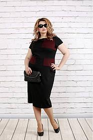 Женское платье ниже колена с коротким рукавом 0790 / размер 42-74 / большие размеры / цвет черный с бордо