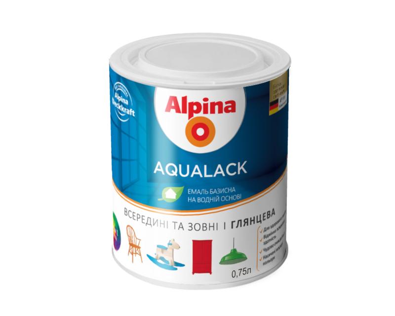 Эмаль акриловая ALPINA AQULACK (Украина) универсальная глянцевая белая - база B1 0,75л