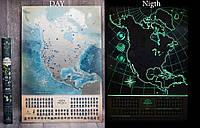 Светящаяся cкретч карта Северной Америки My Map North America edition в тубусе