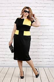 Женское платье ниже колена с коротким рукавом 0790 / размер 42-74 / большие размеры / цвет черный с желтым