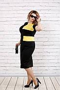 Женское платье ниже колена с коротким рукавом 0790 / размер 42-74 / большие размеры / цвет черный с желтым , фото 2