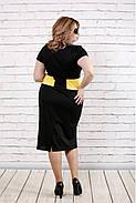 Женское платье ниже колена с коротким рукавом 0790 / размер 42-74 / большие размеры / цвет черный с желтым , фото 4