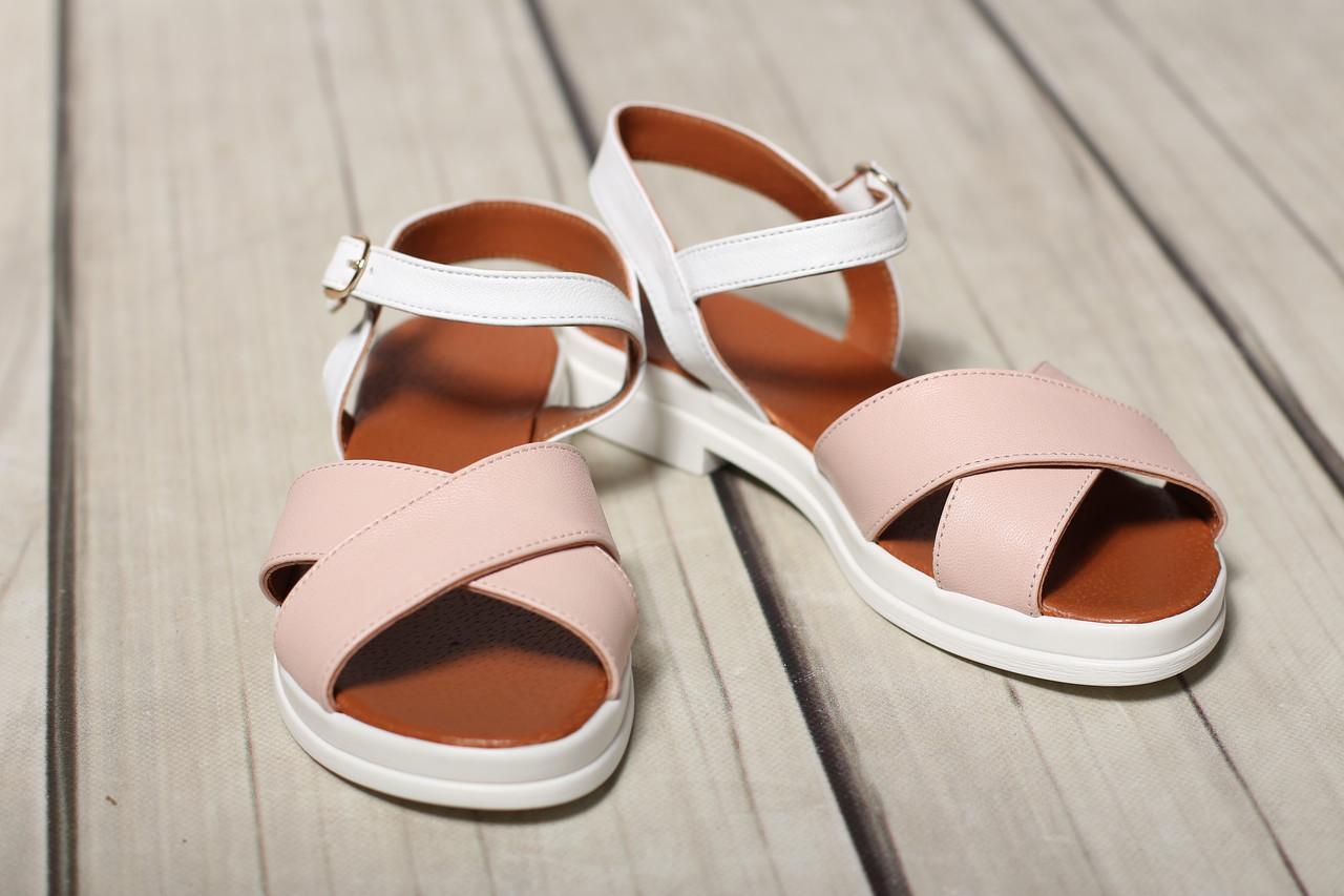 Женские кожаные босоножки  сандалии TIFFANY на танкетке платформе оптом