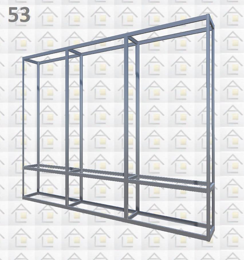 Конструктор (каркас) витрины № 53 из алюминиевого профиля (2578)1449,2576,2721