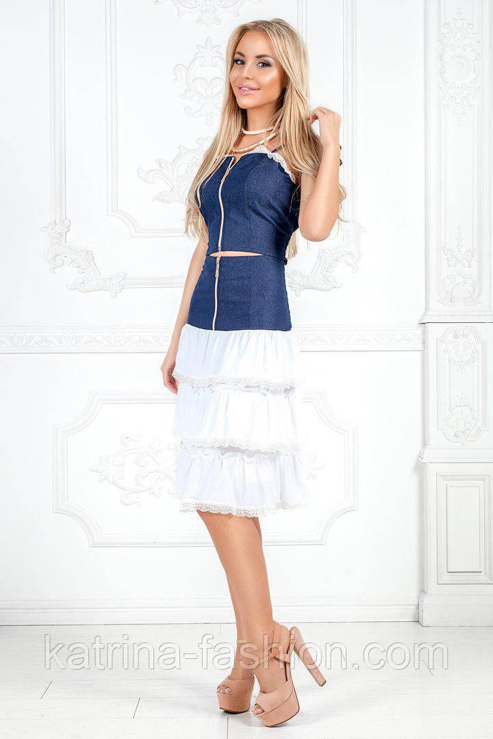 Женский джинсовый костюм: топ на молнии и юбка (2 цвета)