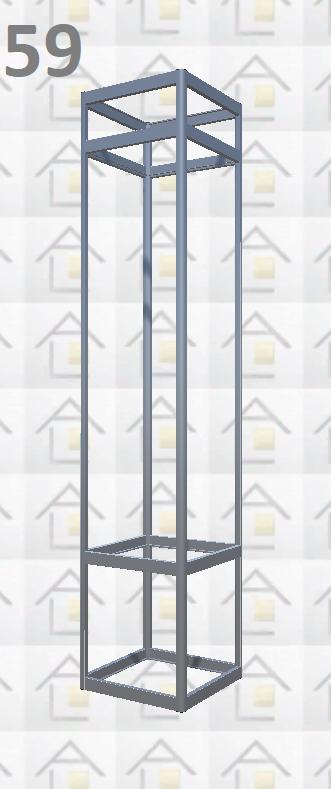 Конструктор (каркас) витрины № 59 из алюминиевого профиля (2578)1449,2576,2721