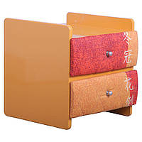 AMF Прикроватная тумбочка (МДФ пленка), оранж металлик с мягкими фасадами Япония бейдж