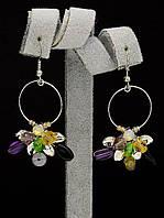 Яркие серьги с камнями-самоцветами и стразами 'Hand Made'  044956