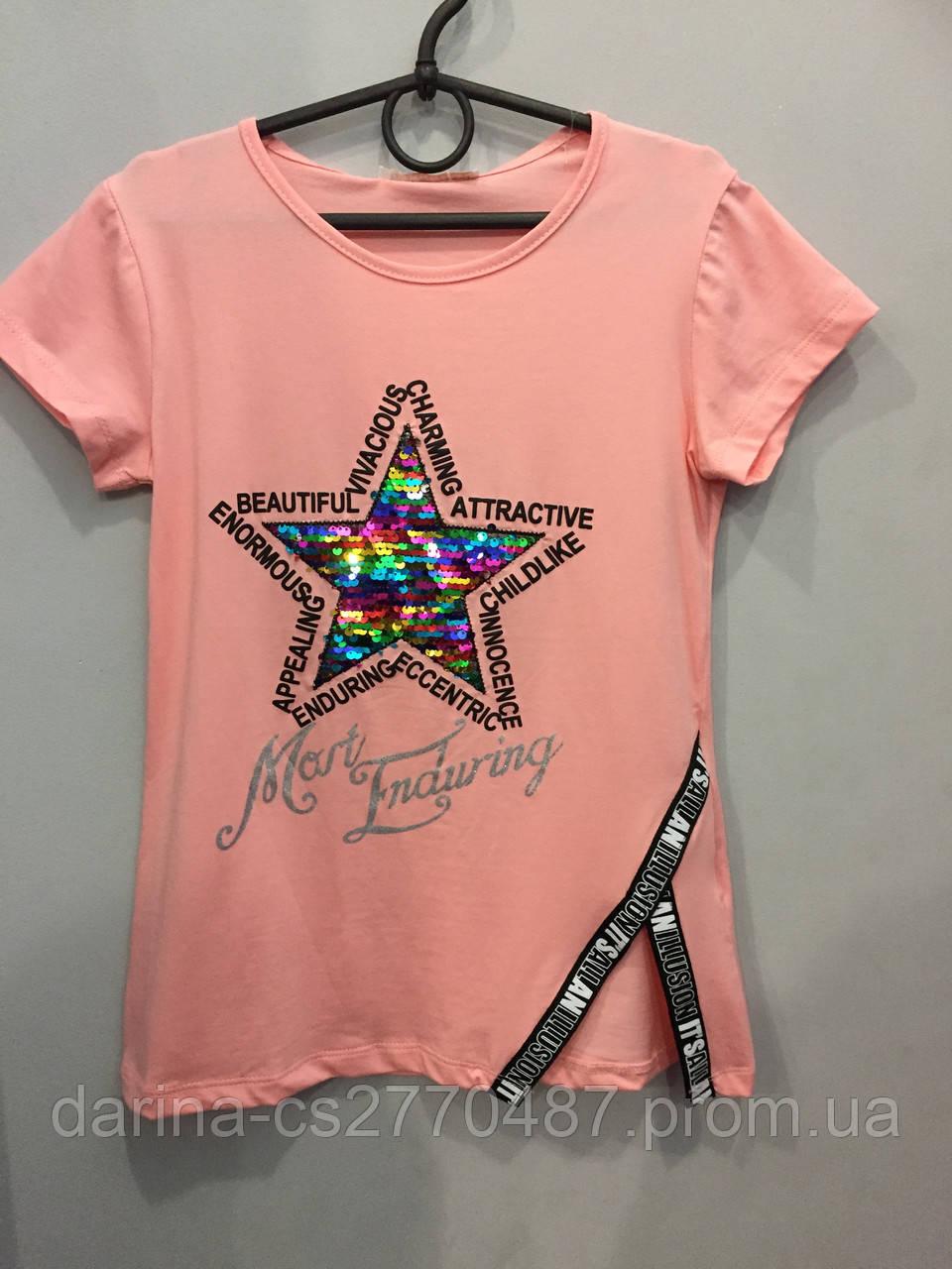 Подростковая стильная футболка для девочки 140/146,146/152 см